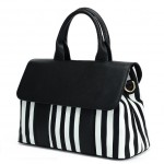 Black White Piano Keyboard Zebra Boston Bag Handbag