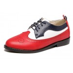 Red Blue Lace Up Vintage Oxfords Flats Shoes