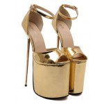 Gold Shiny Mirror Peeptoe Platforms Stiletto High Heels Sandals Shoes