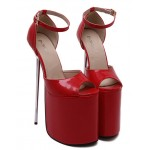 Red Patent Leather Peeptoe Platforms Stiletto High Heels Sandals Shoes