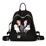 Black Gold Zippers Cartoon Family Applique School Funky Bag Backpack