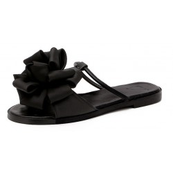 Black Satin Flowers Floral Flats Sandals Shoes