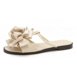 Cream Satin Flowers Floral Flats Sandals Shoes