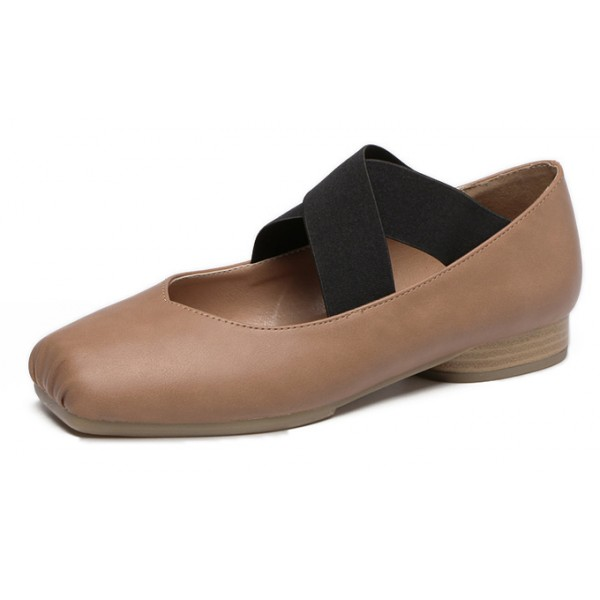 Khaki Cross Straps Ballets Ballerina Flats Shoes