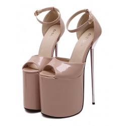 Khaki Patent Leather Peeptoe Platforms Stiletto High Heels Sandals Shoes