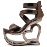 Silver Grey Metallic Shiny Platforms Heart Hollow Out Wedges Sandals Bridal Shoes