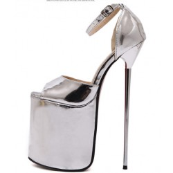 Silver Shiny Mirror Peeptoe Platforms Stiletto High Heels Sandals Shoes