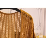 Brown Yellow Crochet Lace Batwing Short Sleeves Cardigan Outer Jacket