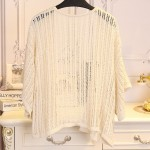 Cream Crochet Lace Batwing Short Sleeves Cardigan Outer Jacket