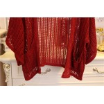 Burgundy Crochet Lace Batwing Short Sleeves Cardigan Outer Jacket