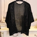 Black Crochet Lace Batwing Short Sleeves Cardigan Outer Jacket