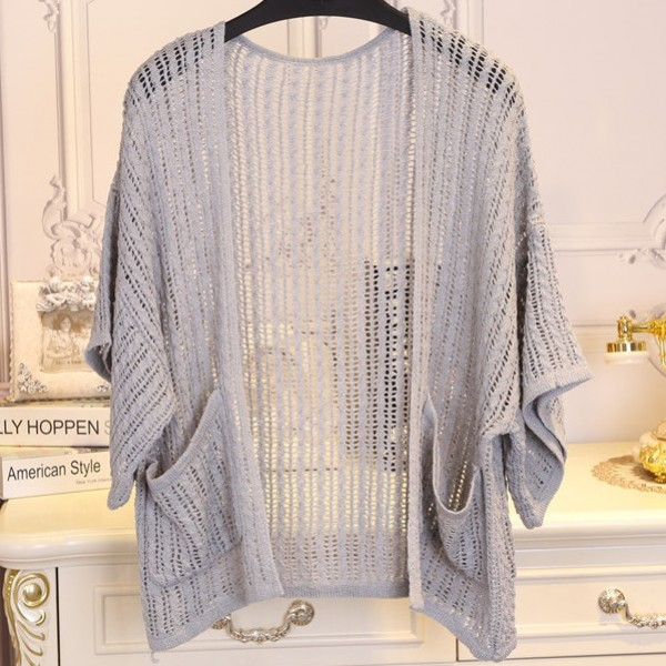 Grey Crochet Lace Batwing Short  Sleeves Cardigan Outer Jacket