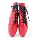 Red Patent Lace Up Ballet Ballerina Super High Stieltto Heels Lady Gaga Weird Oxfords Shoes