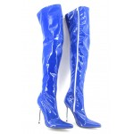 Blue Sexy Patent Glossy Thigh High Pointed Head Stiletto High Heels Night Club Long Boots