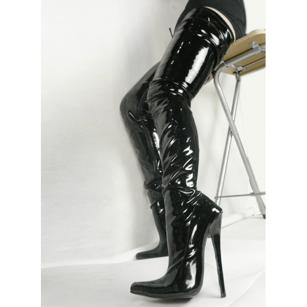 Black Patent Thigh High Pointed Head Stiletto High Heels Diva Cosplay Long Boots