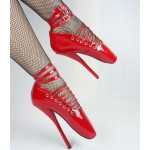 Red Patent Strappy Ballet Ballerina Super High Stieltto Heels Lady Gaga Weird Shoes