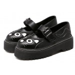 Black Cat Face Mary Jane Lolita Cleated Sole Platforms Creepers Flats Shoes