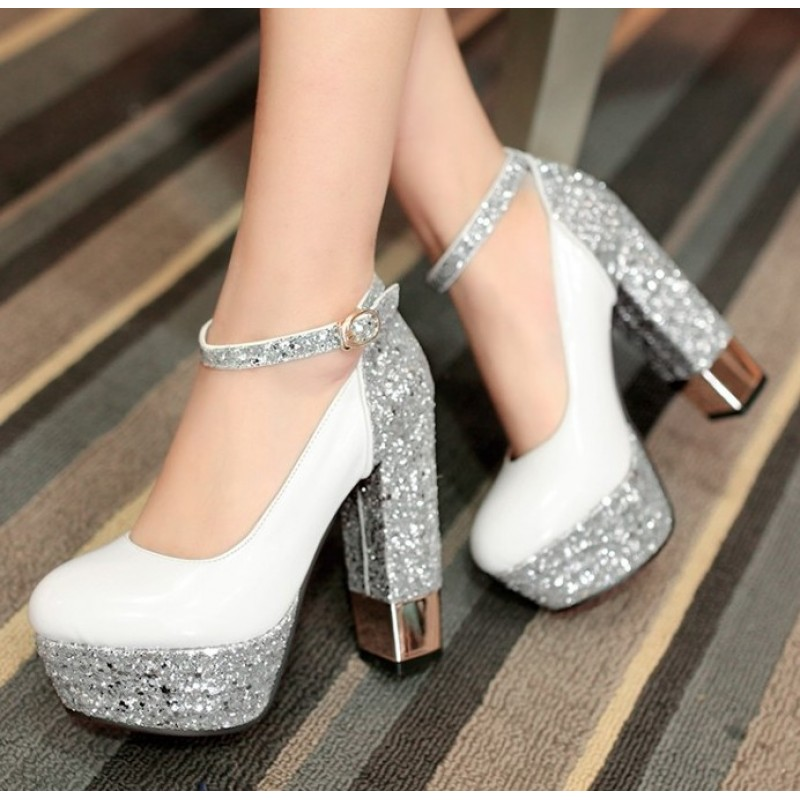 White Silver Glitter Bling Bling Platforms Block High Heels Bridal Shoes