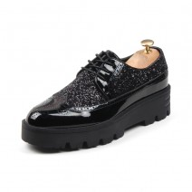 Black Glossy Patent Glitters Cleated Sole Mens Oxfords Loafers Dapperman Dress Shoes Flats