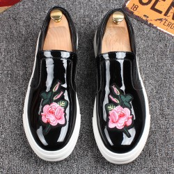 Black Patent Glossy Pink Embroidery Rose FlowersMens  Loafers Sneakers Shoes Flats