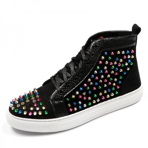 Black Rainbow Spikes High Top Punk Rock Mens Sneakers Shoes Flats