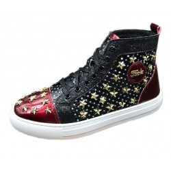 Black Red Patent Stars Spikes High Top Punk Rock Mens Sneakers Shoes Flats