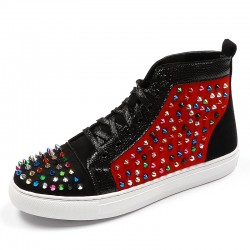 Black Red Rainbow Spikes High Top Punk Rock Mens Sneakers Shoes Flats