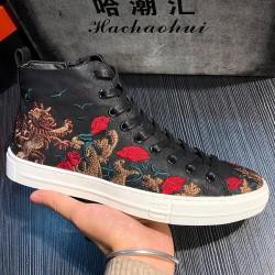 Black Rose Dragon Embroidery High Top Punk Rock Mens Sneakers Shoes Flats