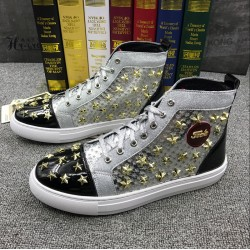 Black Silver Patent Stars Spikes High Top Punk Rock Mens Sneakers Shoes Flats
