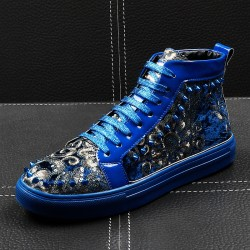 Blue Spikes Embroidery High Top Punk Rock Mens Sneakers Shoes Flats
