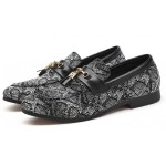 Grey Black Snake Print Patterned Tassels Loafers Dapperman Dress Shoes Flats