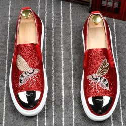 Red Glitters Bee Embroidery Sneakers Loafers Sneakers Mens Shoes Flats