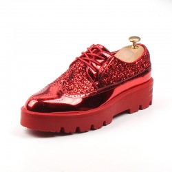 Red Metallic Glitters Cleated Sole Mens Oxfords Loafers Dapperman Dress Shoes Flats