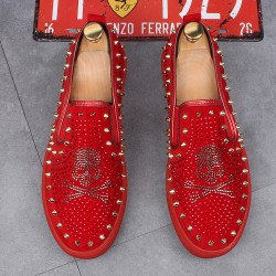 Red Suede Metal Spikes Skull Punk Rock Mens Loafers Sneakers Shoes Flats