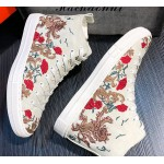White Rose Dragon Embroidery High Top Punk Rock Mens Sneakers Shoes Flats