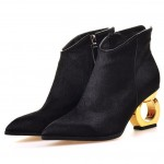 Black Pony Fur Point Head Gold Ring Chelsea Boots Shoes