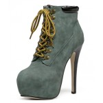 Grey Punk Rock Lace Up Stiletto High Heels Platform Rider Boots