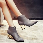 Grey Pony Fur Point Head Gold Ring Chelsea Boots Shoes