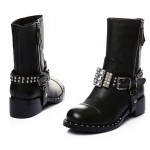 Black Diamantes Crystals Grunge Punk Rock Studs Mid Boots Shoes