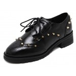Black Metal Studs Punk Rock Lace Up Oxfords Flats Shoes