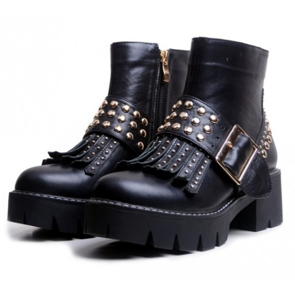 Black Metal Studs Tassels Grunge Punk Rock Studs Mid Boots Shoes