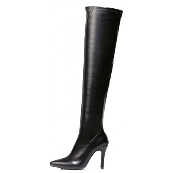 Black Pointed Head Stretchy Over the Knee Stiletto High Heels Long Boots Shoes