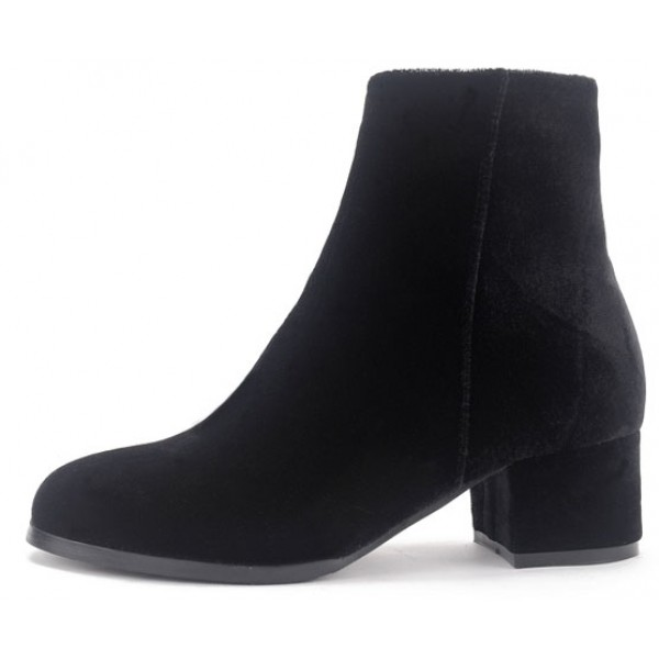 Black Velvet Blunt Head Heels High Top Boots Shoes