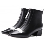 Black White Leather Blunt Head Zipper Ankle Chelsea Boots Shoes