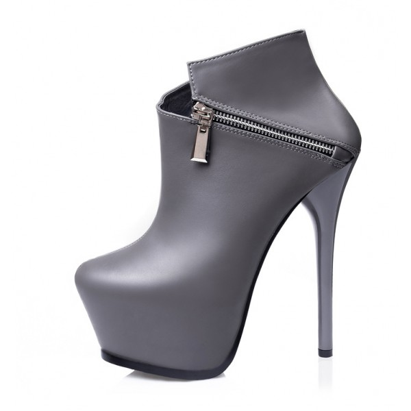 Grey Side Zipper Ankle Platforms Stiletto High Heels Boots Shoes