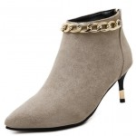 Khaki Suede Metal Chain Point Head Heels Ankle Boots Shoes