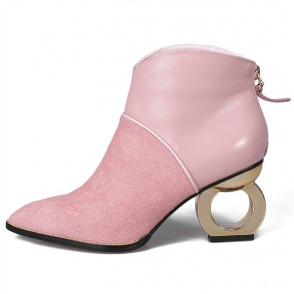 Pink Pony Fur Point Head Gold Ring Chelsea Boots Shoes