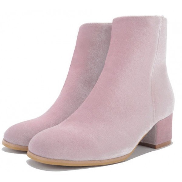 Pink Velvet Blunt Head Heels High Top Boots Shoes