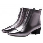 Silver Metallic Leather Blunt Head Zipper Ankle Chelsea Boots Shoes