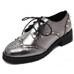 Silver Metallic Metal Studs Punk Rock Lace Up Oxfords Flats Shoes
